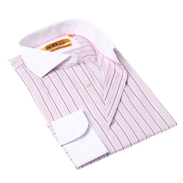 Brio Milano Men's Stripe Pink and White Button-up Dress Shirt