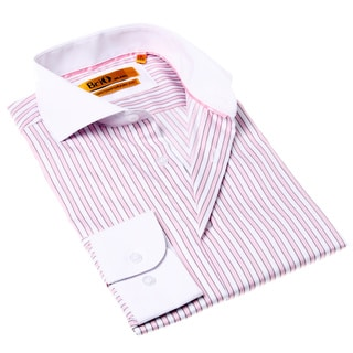 Brio Milano Men's White and Pink Stripe Button-up Dress Shirt
