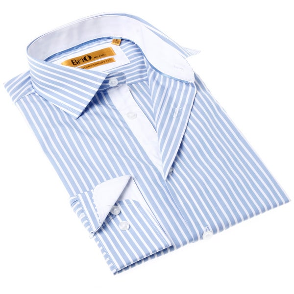 Brio Milano Men's Blue and White Stripe Button-up Shirt 14394763