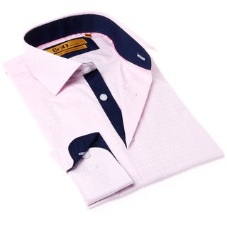 Brio Milano Men's Pink and Blue Solid Button-up Dress Shirt