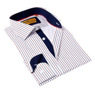 Brio Milano Men's Button-up Stripe White and Blue Dress Shirt