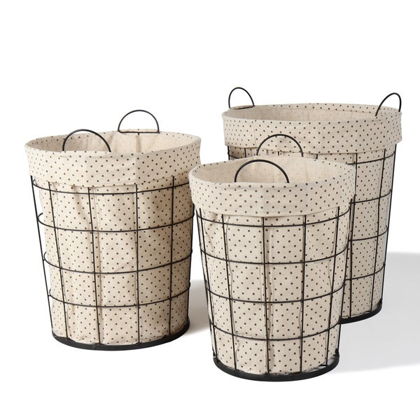Multi-Purpose Polka Dot Circular Baskets (Set of 3)