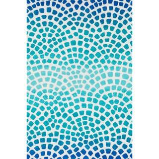 Aaron Aqua/ Blue Mosaic Microfiber Woven Rug (3'6 x 5'6)