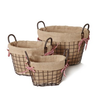 Iron Rustic Oval Burlap Lined Baskets (Set of 3)