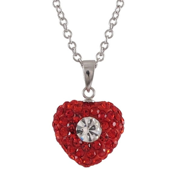 Sterling Silver Red and White Crystals Heart Pendant Necklace