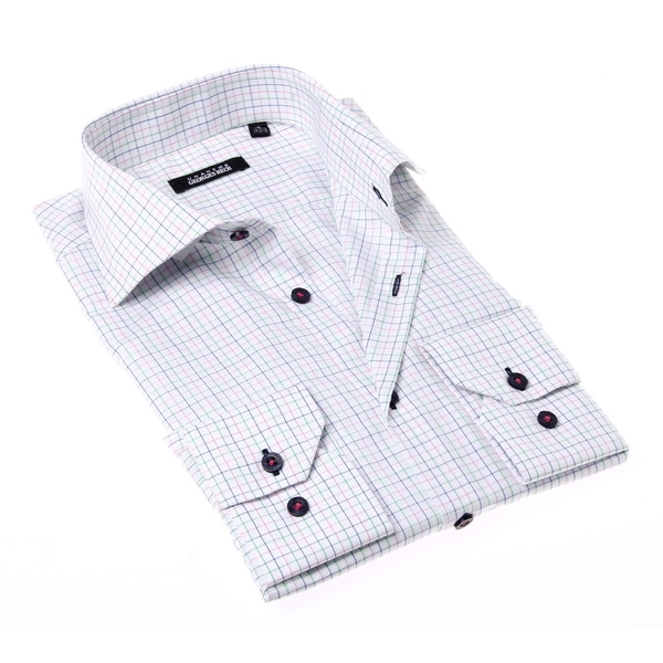 Georges Rech Men's Red and Blue Check Button-up Dress Shirt