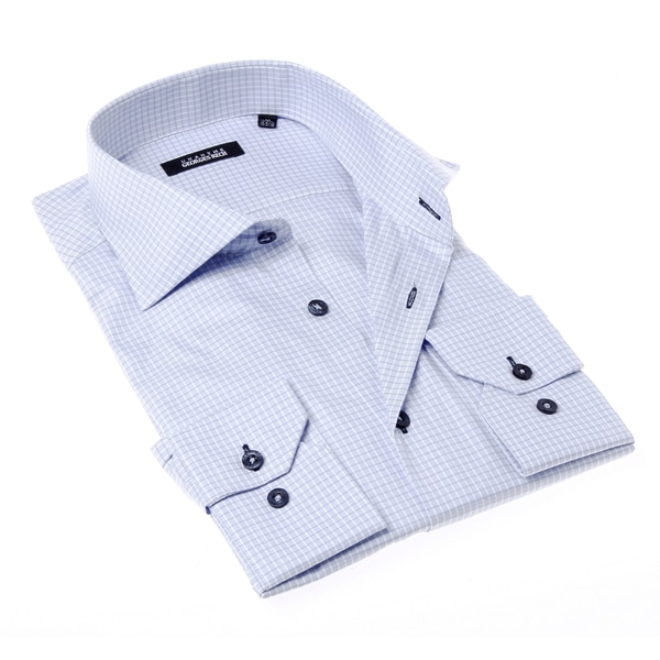 Georges Rech Men's Grey Check Button-up Dress Shirt
