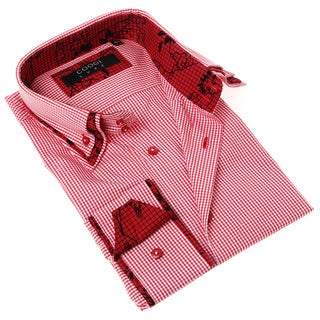 Coogi Luxe Men's Red and White Gingham Button-up Dress Shirt
