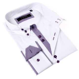 Coogi Luxe Men's White and Purple Solid Button-up Dress Shirt