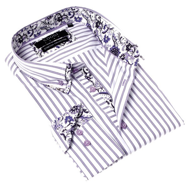 Coogi Luxe Men's Stretch Purple and White Stripe Button-up Dress Shirt