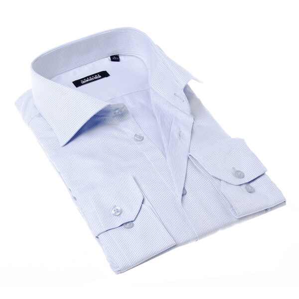 Georges Rech Men's White and Blue Check Button-up Dress Shirt