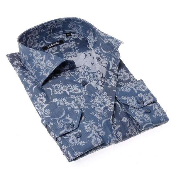 Georges Rech Men's Blue and Grey Floral Button-up Dress Shirt