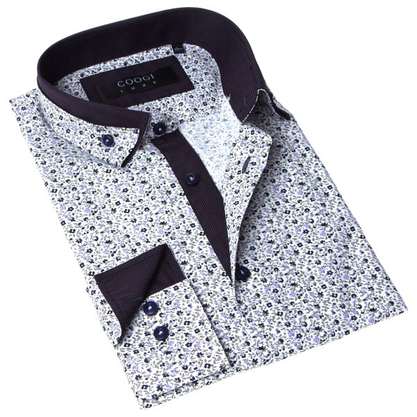 Coogi Luxe Men's White and Purple Floral Button-up Dress Shirt