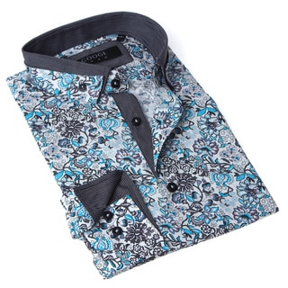 Coogi Luxe Men's Grey and Blue Floral Button-up Dress Shirt