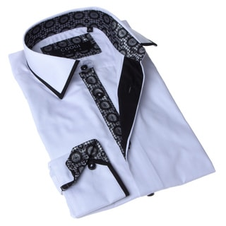 Coogi Luxe Men's Solid White and Black Button-up Dress Shirt