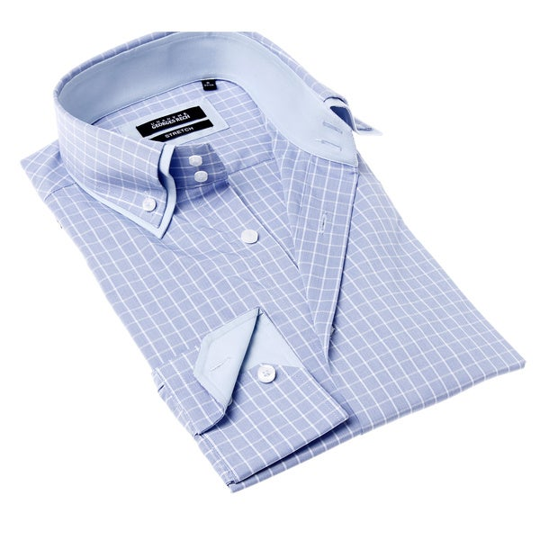 Georges Rech Men's Stretch Blue and White Check Button-up Dress Shirt