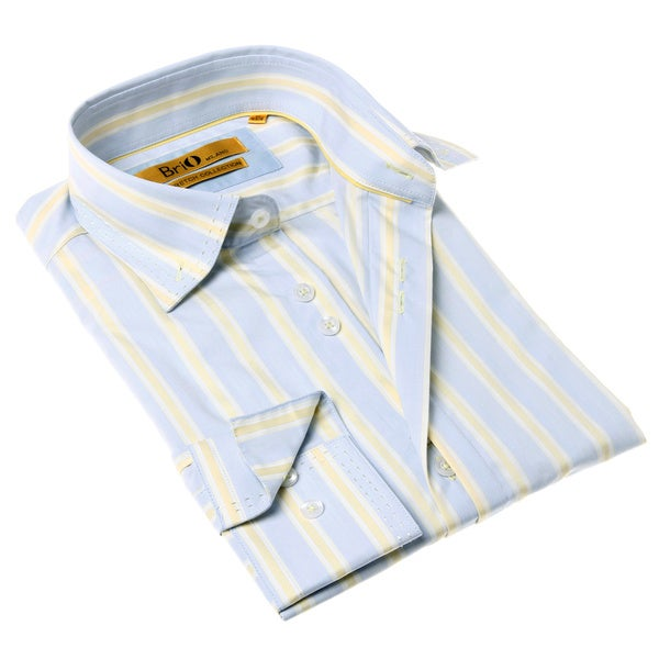 Brio Milano Men's Contemporary Fit Blue and Yellow Stripe Button-up Dress Shirt