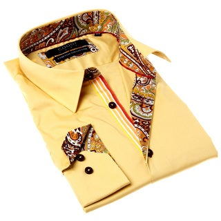 Coogi Luxe Men's Yellow and Brown Solid Button-up Dress Shirt