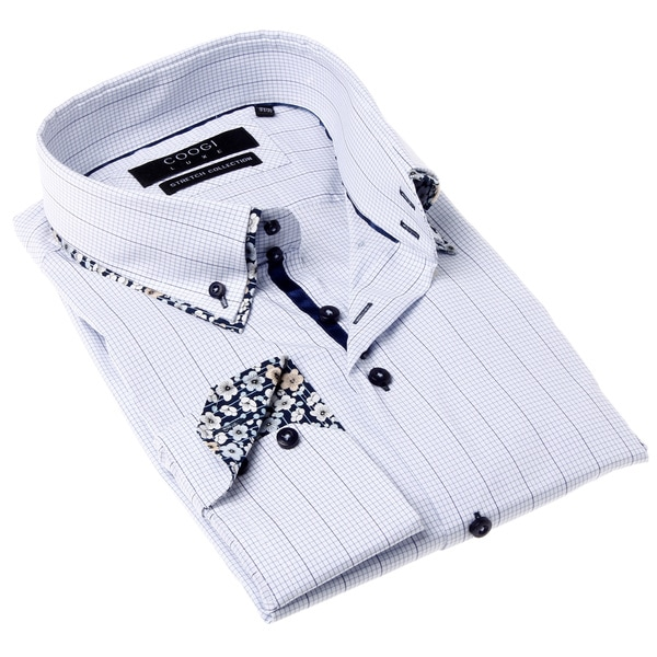 Coogi Luxe Men's Black and White Check Button-up Dress Shirt
