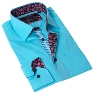 Coogi Luxe Men's Blue and Pink Solid Button-up Dress Shirt