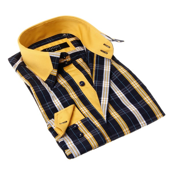 Coogi luxe men 39 s button up yellow and black plaid dress shirt for Blue and yellow plaid dress shirt