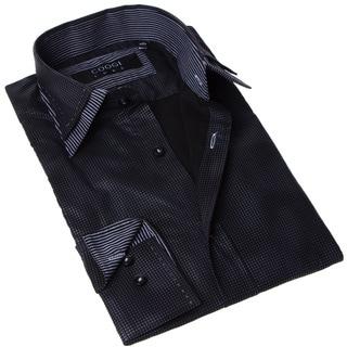 Coogi Luxe Men's Black and Grey Dot Button-up Dress Shirt