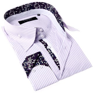 Coogi Luxe Men's Purple and Black Stripe Button-up Dress Shirt