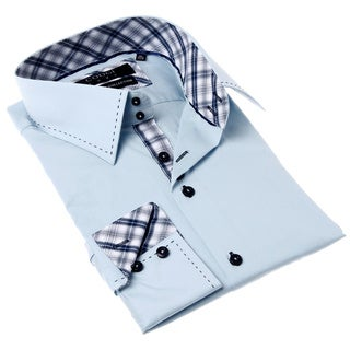 Coogi Luxe Men's Blue and White Solid Button-up Dress Shirt