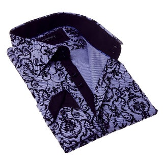 Coogi Luxe Men's Purple Floral Button-up Dress Shirt