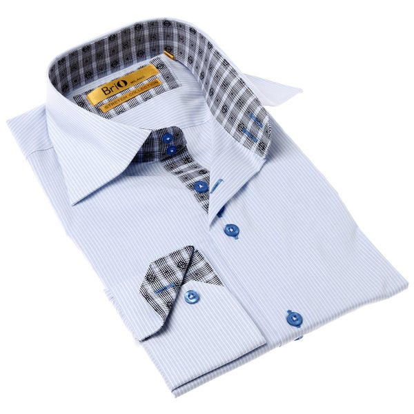 Brio Milano Men's Contemporary Fit Blue and Grey Solid Button-up Dress Shirt