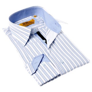 Brio Milano Men's Contemporary Fit Blue/ White Stripe Button-up Dress Shirt