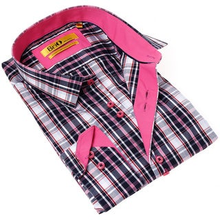 Brio Milano Men's Contemporary Fit Pink and Blue Plaid Button-up Dress Shirt