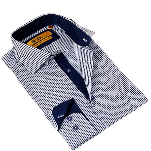 Brio Milano Men's Contemporary Fit Blue/ White Check Button-up Dress Shirt