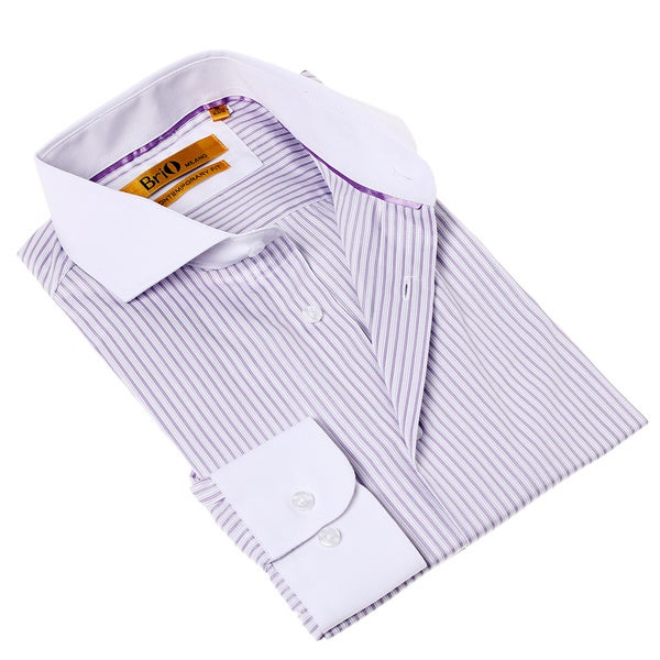 Brio Milano Men's Contemporary Fit Purple and White Stripe Button-up Dress Shirt