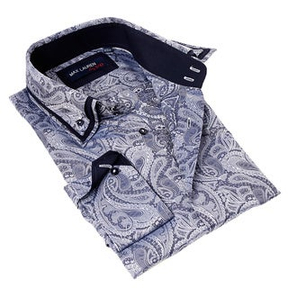 Max Lauren Men's Paisley Blue and White Button-up Dress Shirt
