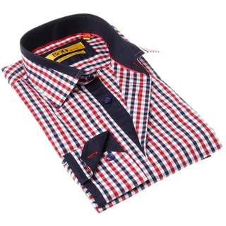 Brio Milano Men's Contemporary Fit Blue and Red Gingham Button-up Dress Shirt