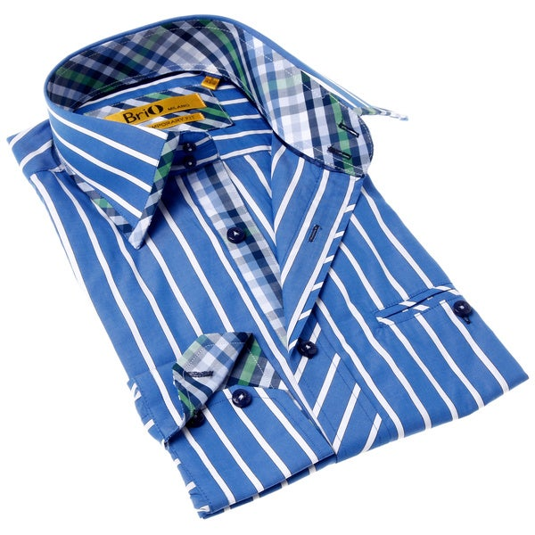 Brio Milano Men's Contemporary Fit Blue and Green Stripe Button-up Dress Shirt