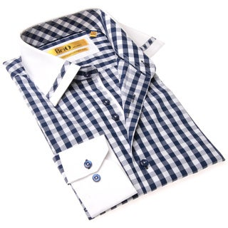 Brio Milano Men's Contemporary Fit Blue and White Check Button-up Dress Shirt