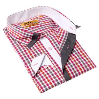 Brio Milano Men's Contemporary Fit Pink and Brown Plaid Button-up Dress Shirt