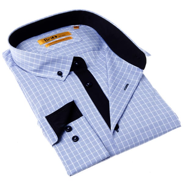Brio Milano Men's Button-up Contemporary Fit Blue and Black Check Dress Shirt