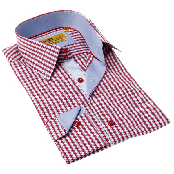 Brio Milano Men's Contemporary Fit Red and Blue Gingham Button-up Dress Shirt
