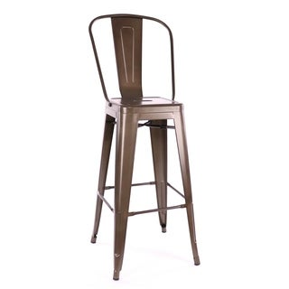 Amalfi Rustic Matte Steel High Back Bar Stool (Set of 4)