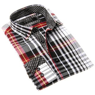 Coogi Luxe Men's Black and Red Plaid Button-up Dress Shirt