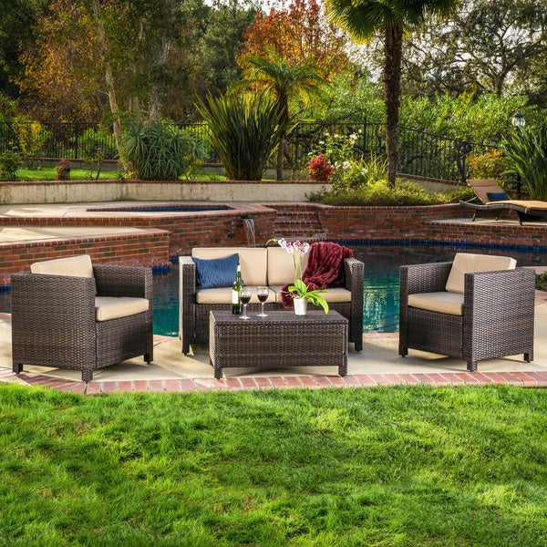 Christopher Knight Home Puerta 4 piece Brown Outdoor Wicker Sofa Set