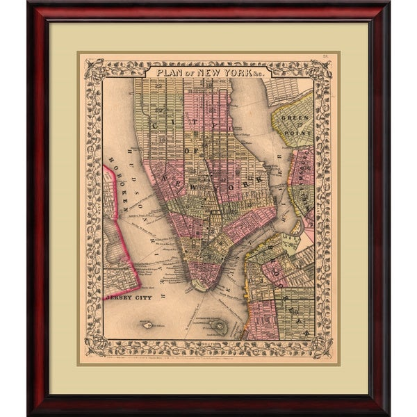 Ward Maps 'Plan of New York City, 1867' Framed Art Print 28 x 32-inch