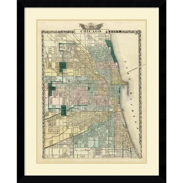 Warner and Beers 'Map of the City of Chicago, 1876' Framed Art Print 32 x 39-inch