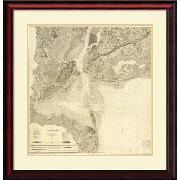 United States Coast Survey 'Map of New York Bay and Harbor and The Environs, 1844' Framed Art Print 29 x 30-inch