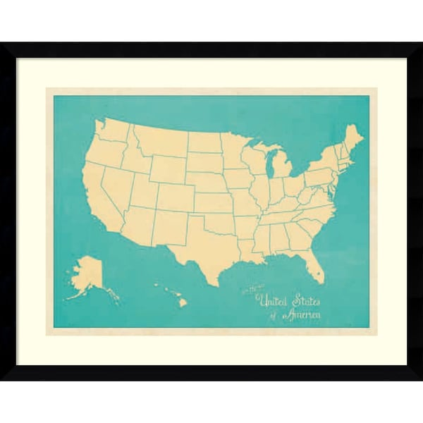 Sparx Studio 'USA Map (blue)' Framed Art Print 41 x 33-inch