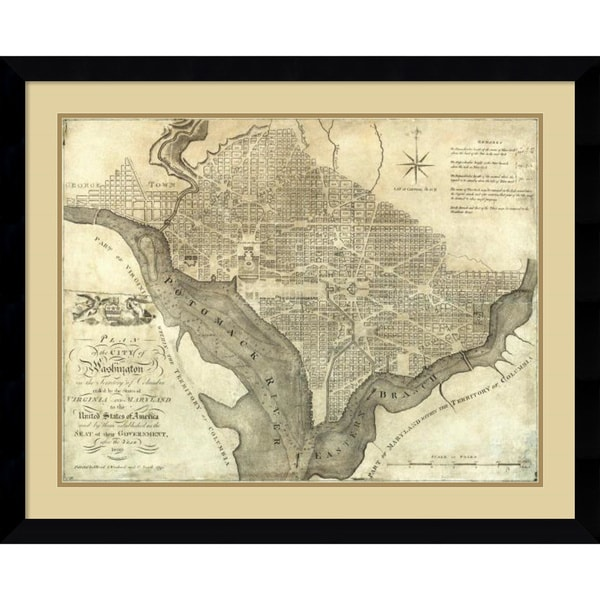 John Reid 'Plan of the City of Washington, 1795' Framed Art Print 38 x 31-inch