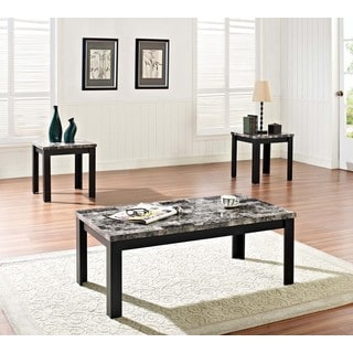 Finely 3-piece Black Coffee/ End Table Set with Faux Marble Tops